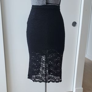 Aritzia Babaton Wilbur Lace Black Pencil Skirt 2